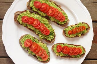 avocado on toast with tomatoes